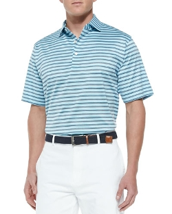 Peter Millar	  - Barker-Stripe Lisle-Knit Polo Shirt