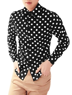 Uxcell - Polka Dots Long Sleeve Slim Fit Dress Shirt