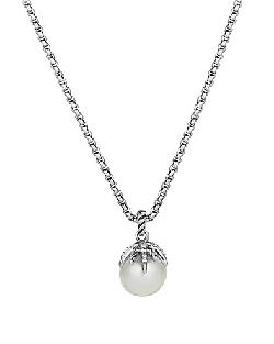 David Yurman  - Starburst Pearl Pendant with Diamonds on Chain