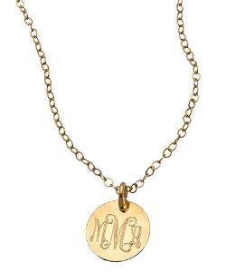 Miriam Merenfeld - Gold Mini Monogram Pendant Necklace