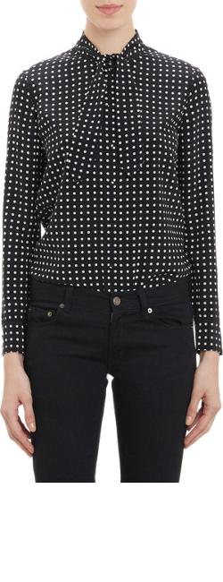 Saint Laurent  - Dot-pattern Neck Tie Blouse