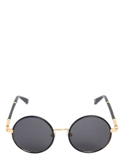 The Row - Leather & Acetate Round Sunglasses
