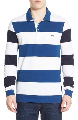 Lacoste  - Long Sleeve Stripe Piqué Polo Shirt