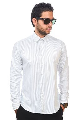 Azar Man - White Narrow Stripe Dress Shirt