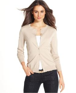August Silk  - Long-Sleeve Silk-Blend Cardigan