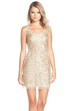 Adrianna Papell  - Sequin Tulle Sheath Dress