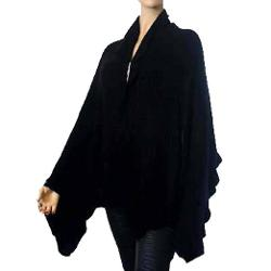 Luxury Divas  - Knit Ruffle Edge Poncho Shawl