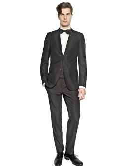 Z Zegna  - Wool & Cotton Microtextured Tuxedo