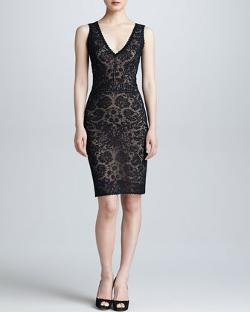 Zac Posen - Sleeveless Lace V-Neck Dress