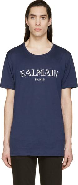 Balmain - Navy Logo T-Shirt