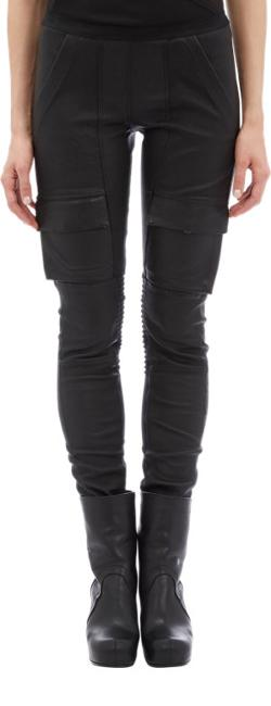 Rick Owens  - Stretch-leather Cargo Leggings