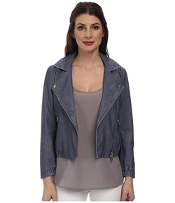 Calvin Klein Jeans  - Shrunken Leather Biker Jacket