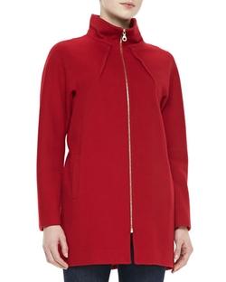 Neiman Marcus   - Dolman Long-Sleeve Zip-Front Jacket