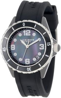Akribos XXIV - Black Rubber Strap Watch