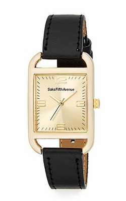 Saks Fifth Avenue - Rose Goldtone Square & Faux Leather Watch