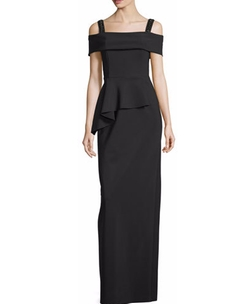 Rickie Freeman For Teri Jon - Cold-Shoulder Peplum Column Gown
