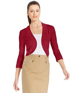 Jessica Howard  - Three-Quarter-Sleeve Open-Front Cardigan