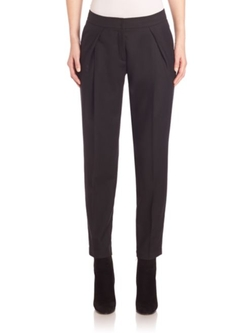 Akris Punto  - Wool Fold-over Pleat Pants