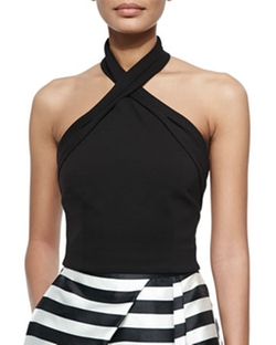 Nicholas - Ponte Knit Cross-Front Halter Top