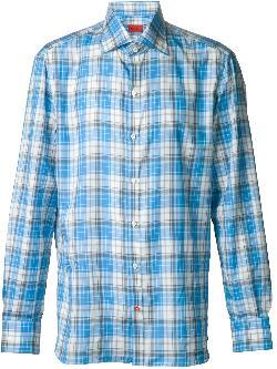 ISAIA  - plaid button down shirt
