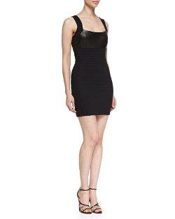 La Pina  - Martine Sleeveless Leather-Front Bandage Dress