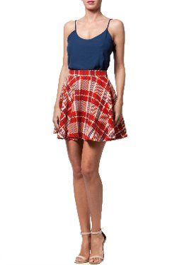 Babel Fair - Red Plaid Fit Flare Skirt