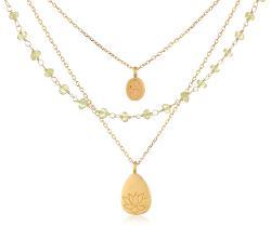 Satya Jewelry - Classics Peridot Hamsa Lotus Triple Chain Necklace
