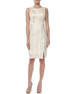 J. Mendel - Sleeveless Jacquard Sheath Dress
