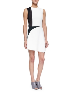 Narciso Rodriguez - Colorblock Spike-Print Asymmetric Dress