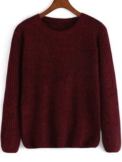 Romwe - Round Neck Loose Knit Sweater