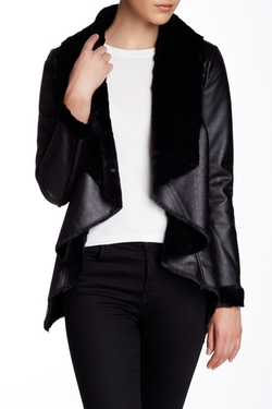 Blanc Noir - Faux Shearling Drape Front Jacket