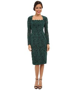 Maggy London  - Textured Paisley Lace Sweetheart Neck Sheath