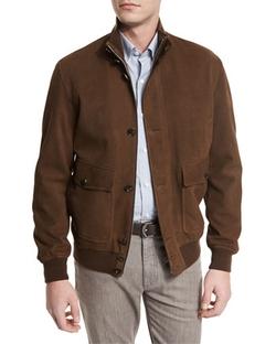 Ermenegildo Zegna - Full-Grain Suede Button-Down Jacket