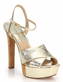 Michael Kors Collection  - Addy Metallic Snakeskin & Cork Platform Sandals