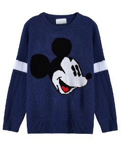 Romwe - Mickey Print Loose Sweater