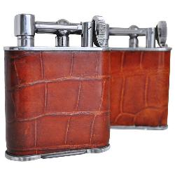 Lawson and Raphael Clarke - Pair of English Art Deco Chrome and Crocodile Skin Jumbo Wheel and Flint Table Lighters