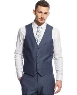 Bar III - Blue Chambray Slim-Fit Vest