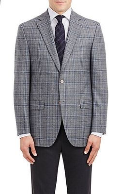 Piattelli - Windowpane-Plaid Two-Button Sportcoat
