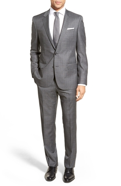 Boss - Trim Fit Check Wool Suit