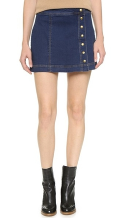 Free People  - Denim Asymmetrical Button Down Skirt