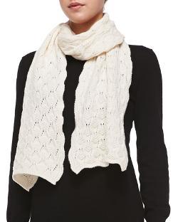 Brora   - Cashmere Lace-Knit Scarf