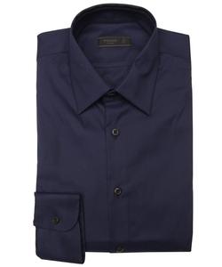 Prada - Navy Cotton Point Collar Dress Shirt
