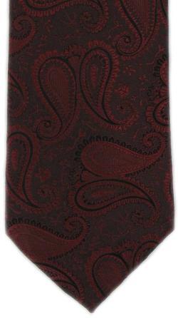 Michelsons of London  - Autumn Paisley Tie - Black/Dark Red