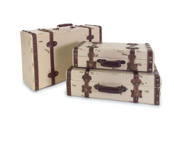 Wildon Home - 3 Piece Suitcase Set in Antique Ivory
