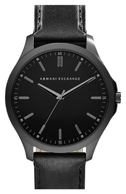 AX Armani Exchange  - Round Leather Strap Watch