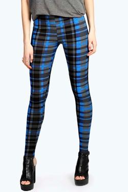 Boohoo - Helina Blue Check Printed Legging Pants