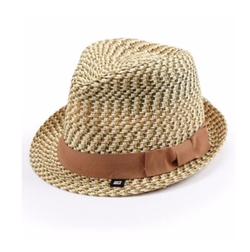 Block Headwear  - Tonal Braided Straw Fedora Hat