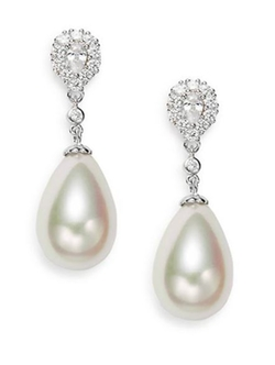 Majorica  - Teardrop Pearl & Sterling Silver Dangle Earrings