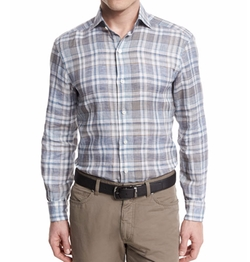 Ermenegildo Zegna - Plaid Long-Sleeve Linen Sport Shirt