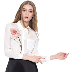 Topbest - Silk Rose Print Long Sleeve Shirt